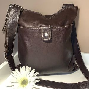 Roots leather crossbody